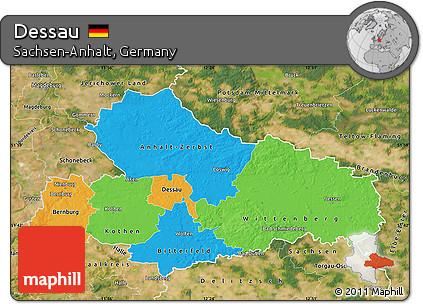 Free Political Map of Dessau satellite outside