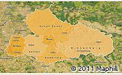 Political Shades Map of Dessau, satellite outside