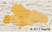 Political Shades Map of Dessau, shaded relief outside