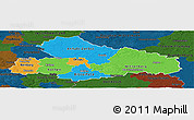 Political Panoramic Map of Dessau, darken