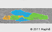 Political Panoramic Map of Dessau, desaturated