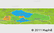 Political Panoramic Map of Dessau, physical outside