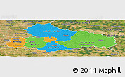 Political Panoramic Map of Dessau, satellite outside
