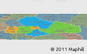Political Panoramic Map of Dessau, semi-desaturated