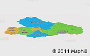 Political Panoramic Map of Dessau, single color outside