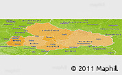 Political Shades Panoramic Map of Dessau, physical outside