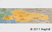 Political Shades Panoramic Map of Dessau, semi-desaturated