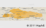 Political Shades Panoramic Map of Dessau, shaded relief outside