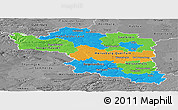 Political Panoramic Map of Halle, desaturated