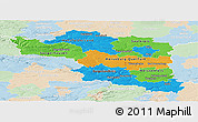 Political Panoramic Map of Halle, lighten