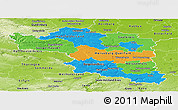 Political Panoramic Map of Halle, physical outside