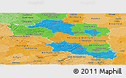 Political Panoramic Map of Halle, political shades outside