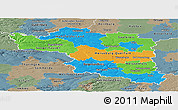 Political Panoramic Map of Halle, semi-desaturated