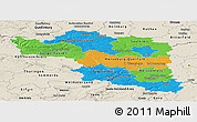 Political Panoramic Map of Halle, shaded relief outside