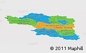 Political Panoramic Map of Halle, single color outside