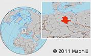 Gray Location Map of Sachsen-Anhalt