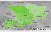 Political Shades Panoramic Map of Magdeburg, desaturated