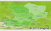 Political Shades Panoramic Map of Magdeburg, physical outside