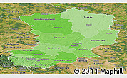 Political Shades Panoramic Map of Magdeburg, satellite outside