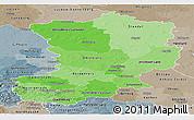 Political Shades Panoramic Map of Magdeburg, semi-desaturated