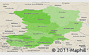 Political Shades Panoramic Map of Magdeburg, shaded relief outside