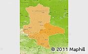 Political Shades Map of Sachsen-Anhalt, physical outside