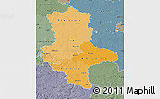 Political Shades Map of Sachsen-Anhalt, semi-desaturated