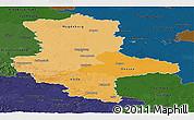 Political Shades Panoramic Map of Sachsen-Anhalt, darken