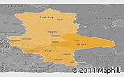 Political Shades Panoramic Map of Sachsen-Anhalt, desaturated
