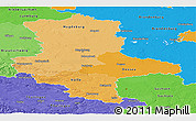 Political Shades Panoramic Map of Sachsen-Anhalt