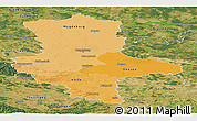 Political Shades Panoramic Map of Sachsen-Anhalt, satellite outside
