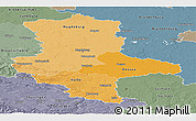 Political Shades Panoramic Map of Sachsen-Anhalt, semi-desaturated