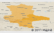 Political Shades Panoramic Map of Sachsen-Anhalt, shaded relief outside