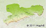 Physical 3D Map of Sachsen, lighten