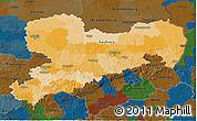 Political 3D Map of Sachsen, darken