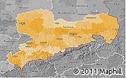 Political 3D Map of Sachsen, desaturated