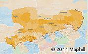 Political 3D Map of Sachsen, lighten