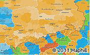 Political 3D Map of Sachsen