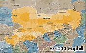 Political 3D Map of Sachsen, semi-desaturated