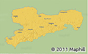 Savanna Style 3D Map of Sachsen, single color outside