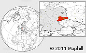 Blank Location Map of Sachsen, highlighted country