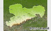 Physical Map of Sachsen, darken