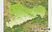 Physical Map of Sachsen, satellite outside