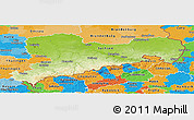 Physical Panoramic Map of Sachsen, political outside