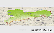 Physical Panoramic Map of Sachsen, shaded relief outside