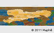 Political Panoramic Map of Sachsen, darken