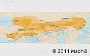 Political Panoramic Map of Sachsen, lighten