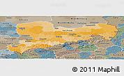 Political Panoramic Map of Sachsen, semi-desaturated