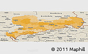 Political Panoramic Map of Sachsen, shaded relief outside