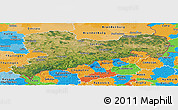 Satellite Panoramic Map of Sachsen, political outside